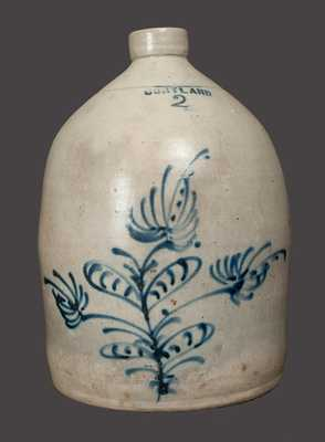 2 Gal. CORTLAND Stoneware Crock with Slip-Trailed Floral Decoration