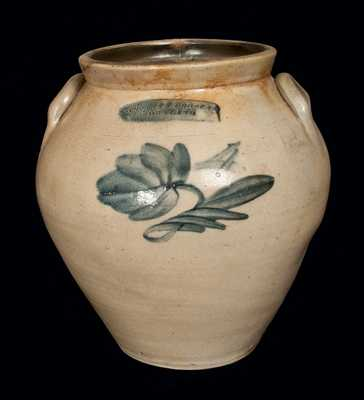 THOMAS D. CHOLLAR / CORTLAND Ovoid Stoneware Crock with Floral Decoration