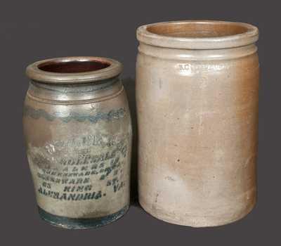 Lot of Two: Alexandria Stoneware Jars, B. C. MILBURN and E. J. MILLER