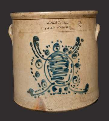Rare ADAM CAIRE / PO'KEEPSIE, NY Stoneware Crock with Stylized Turtle Decoration