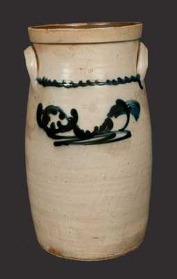 3 Gal. Stoneware Churn with Slip-Trailed Decoration, attributed Smith & Day, Norwalk