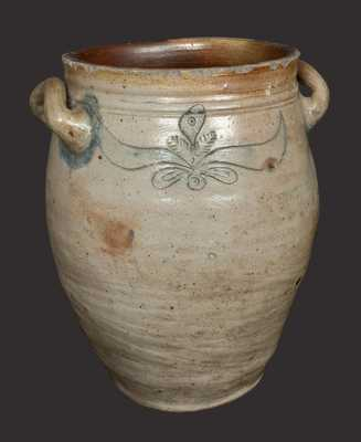 Rare C. CROLIUS, Manhattan Stoneware Crock with Incised and Impressed Decoration