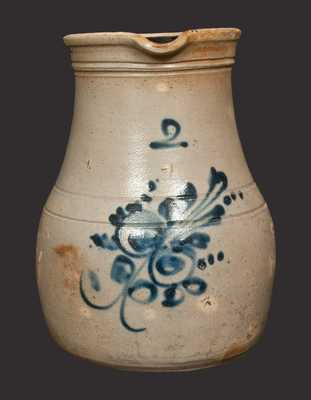 2 Gal. Stoneware Pitcher with Floral Decoration, Northeastern U.S. Origin
