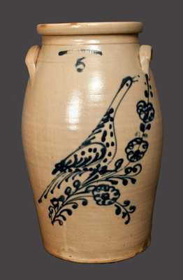 5 Gal. WHITES BINGHAMPTON Stoneware Churn with Detailed Slip-Trailed Bird Design
