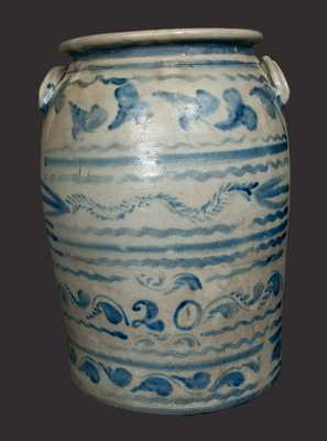 20 Gal. Western PA Stoneware Crock with Profuse Freehand Decoration, probably Boughner, Greensboro, PA