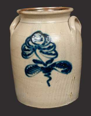 2 Gal. Stoneware Crock with Slip-Trailed Floral Decoration