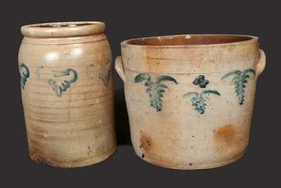 Lot of Two: Two-Gallon NJ Stoneware Crock and Four-Gallon Crock