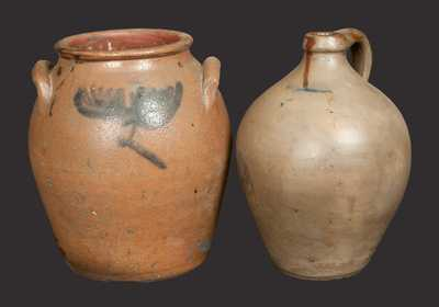 Lot of Two: Early Ovoid Stoneware Crock with Floral Decoration and Early Ovoid Stoneware Jug