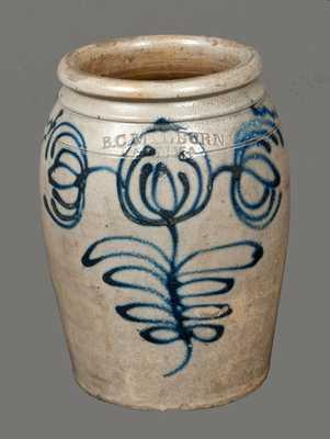 1/2 Gal. B. C. MILBURN / ALEXA. Stoneware Crock w/ Fine Slip-Trailed Decoration