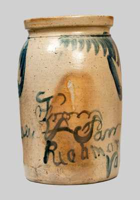 Stoneware Jar w/ Freehand Inscription,