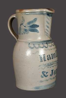 Very Fine HAMILTON & JONES (Greensboro, PA) Stoneware Pitcher with Freehand Floral Decoration