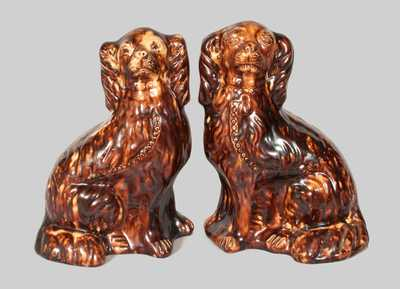 Matched Pair of Redware Spaniels, Stamped