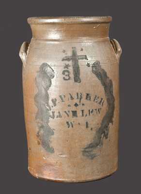 J.P. PARKER / JANE LEW / WV Stoneware Churn w/ Stenciled Cross