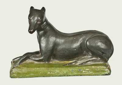 Important Pair of Shenandoah Valley Redware Whippets, Samuel Bell, Winchester, VA, 1841