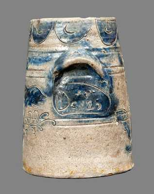Extremely Rare and Important Manhattan Stoneware Jar with Incised Eagle, Inscribed
