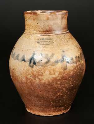 Rare C. CROLIUS / MANUFACTURER / NEW-YORK Stoneware Pitcher, One-Gallon