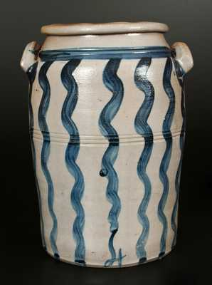 Rare and Fine Four-Gallon Stoneware Jar with Cobalt Vertical Stripe Decoration, Greensboro, PA origin, circa 1860.