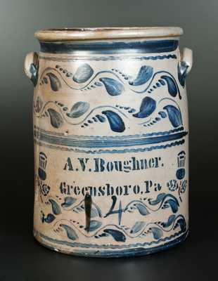 Rare A. V. BOUGHNER / GREENSBORO, PA Stoneware Crock w/ Thisle Decoration