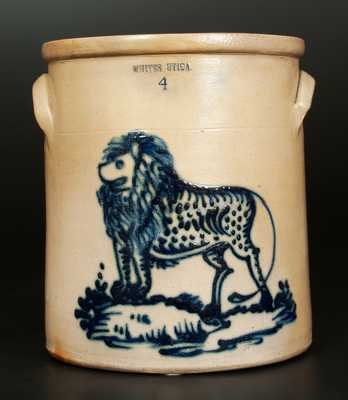 Exceptional WHITES UTICA 4 Gal. Stoneware Crock with Bold Lion Decoration