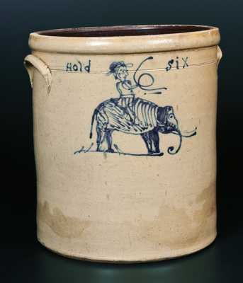 Extremely Rare and Important Stoneware Crock with Elephant and Rider, Midwestern origin