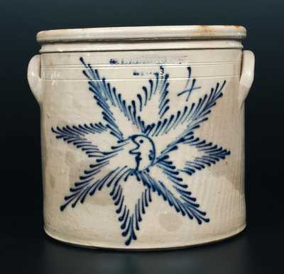 Exceptional T. HARRINGTON / LYONS Stoneware Crock with Starface / Moonface Decoration