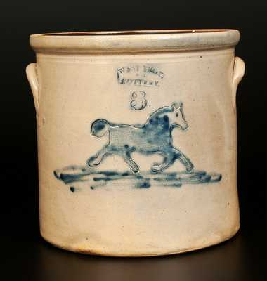 Rare 3 Gal. WEST TROY POTTERY Stoneware Crock with Running Horse Decoration