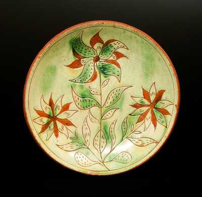 Extremely Fine Sgraffito Redware Plate, Southeastern PA, circa 1825