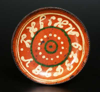 Exceptional Redware Plate w/ Yellow-Slip Alphabet and Yellow and Green Design, Berks County, PA