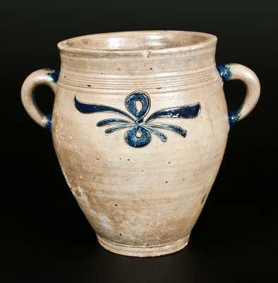 Very Rare Vertical-Handled Incised Stoneware Jar, Manhattan or New Jersey Origin, late 18th Century