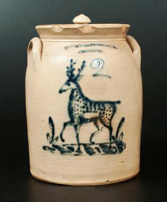 Very Rare T. HARRINGTON / LYONS Stoneware 2 Gal. Stoneware Lidded Jar with Deer Decoration