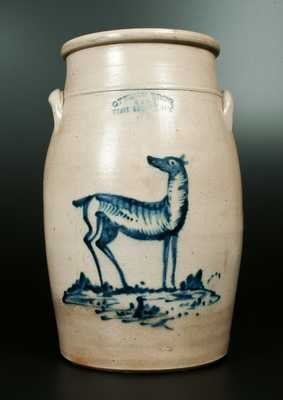 Rare OTTMAN BROS. / FORT EDWARD, NY Stoneware Churn with Standing Doe Decoration