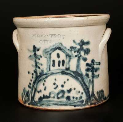 Rare 1/2 Gal. WEST TROY POTTERY Stoneware Crock with House Scene