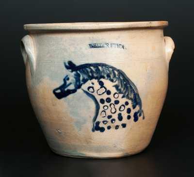Very Rare WHITES UTICA Stoneware Cream Jar with Horse Head Decoration