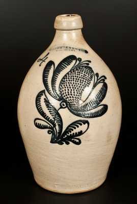 Outstanding F. STETZENMEYER / ROCHESTER, NY Stoneware Jug w/ Elaborate Slip-Trailed  Decoration