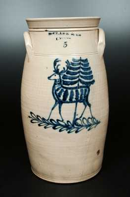 Very Fine N. CLARK & CO. / LYONS Stoneware Churn with Standing Deer and Tree Decoration