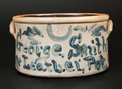 Very Unusual Stoneware Cake Crock Inscribed