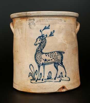 Rare 5 Gal. HUBBELL & CHEESEBRO / GEDDES, NY Stoneware Standing Deer Crock