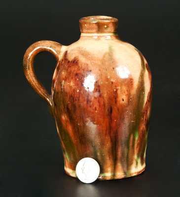 Rare Multi-Glazed Redware Jug, Bell or Eberly, Strasburg, VA