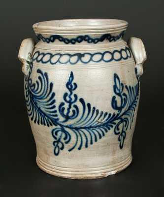 Monumental B. C. MILBURN / ALEXA. Handled Stoneware Jar w/ Elaborate Slip-Trailed Decoration