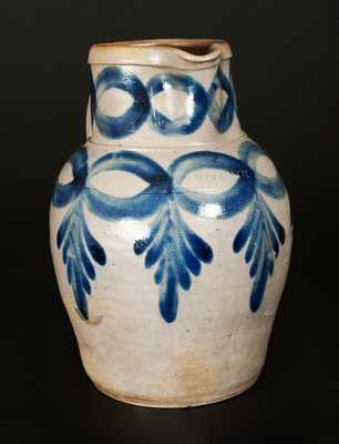 Exceptional H. C. SMITH / ALEXA. / DC Stoneware Pitcher w/ Impressive Brushed Cobalt Decoration