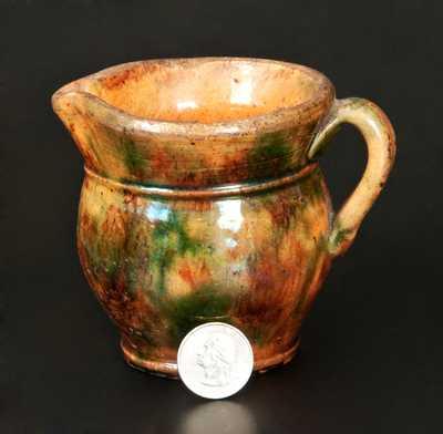 Very Rare Miniature Shenandoah Valley Redware Cream Pitcher, Strasburg, VA