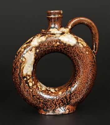 Important Alkaline-Glazed Stoneware Ring Jug Impressed J. S. NASH, Marion County, Texas c1860