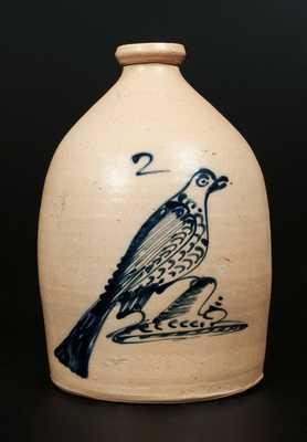 2 Gal. ALBANY, NY Stoneware Jug with Elaborate Large Bird Decoration