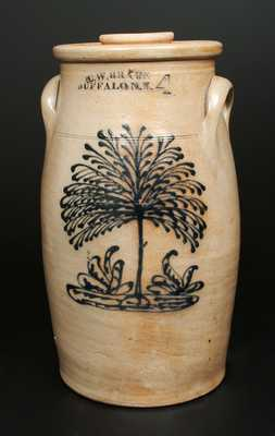 Unusual C. W. BRAUN / BUFFALO, NY Stoneware Churn with Elaborate Tree Decoration