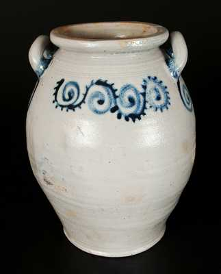 Loop-Handled Stoneware Jar with Watchspring Decoration, Abraham Mead, Greenwich, CT c1790