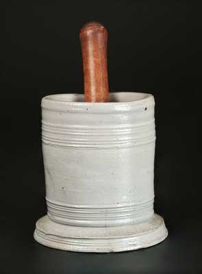 Unusual Stoneware Mortar with Wooden Pestle, Abraham Mead, Greenwich, Connecticut, c1790