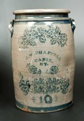 Very Rare 10 Gal. Stoneware Crock w/ CADIZ, KY Advertising, Greensboro, PA origin
