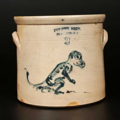 Unique FULPER BROS. / FLEMINGTON, NJ Stoneware Dinosaur Crock