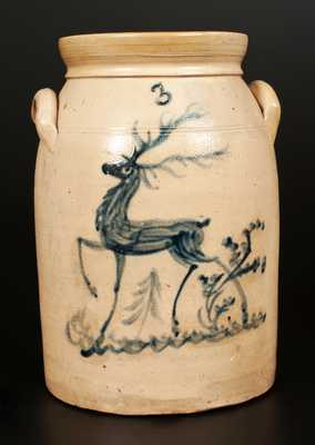 Lehman or Macquoid Pottery, New York, NY Deer Crock