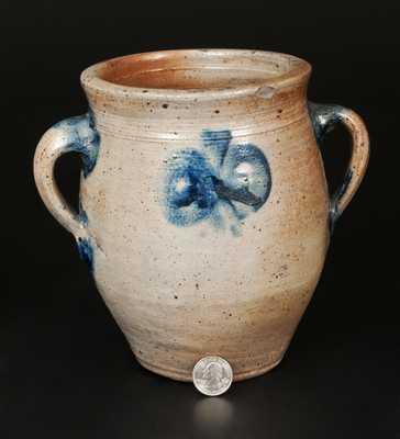 Rare Vertical-Handled Stoneware Jar attrib. Capt. James Morgan, Cheesequake, NJ, 18th century